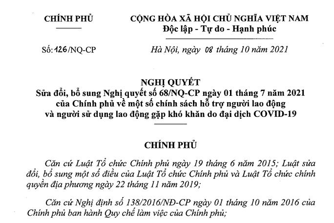 Sửa Nghị quyết 68 về hỗ trợ NLĐ và NSDLĐ khó khăn do Covid-19