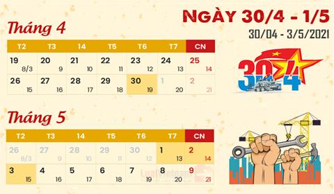 Lịch nghỉ lễ 30/4 và 01/5 năm 2021 với cán bộ, CCVC, NLĐ