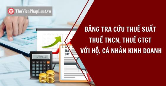 Bảng thuế suất thuế TNCN, GTGT với hộ, cá nhân kinh doanh