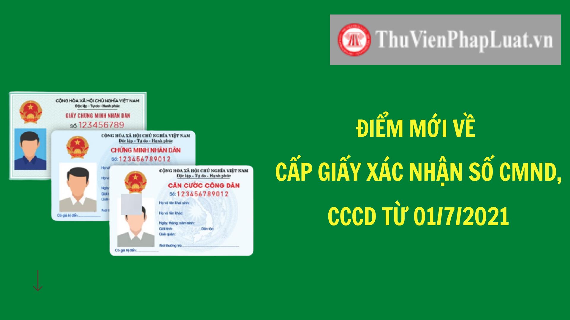 cấp giấy xác nhận số CMND, CCCD