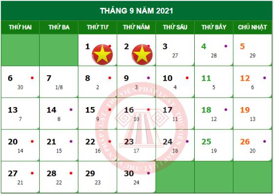 lịch nghỉ quốc khánh 2021
