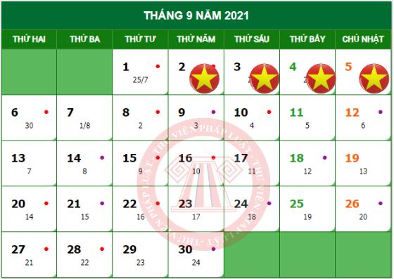 lịch nghỉ quốc khánh 02/9 năm 2021