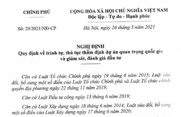 Nghị định 29/2021/NĐ-CP về giám sát và đánh giá đầu tư