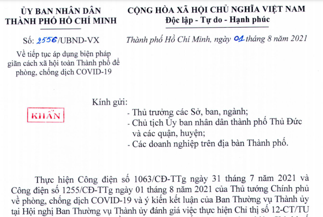 TP.HCM tiếp tục giãn cách theo Chỉ thị 16 thêm 14 ngày từ 0h ngày 02/8
